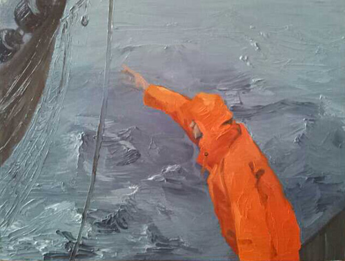 painting fisherman reaching for net Waddenzee
