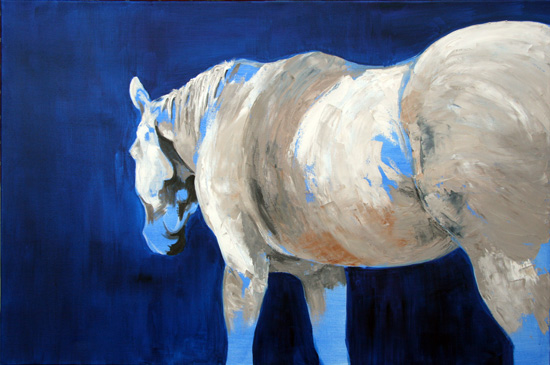 painting white horse