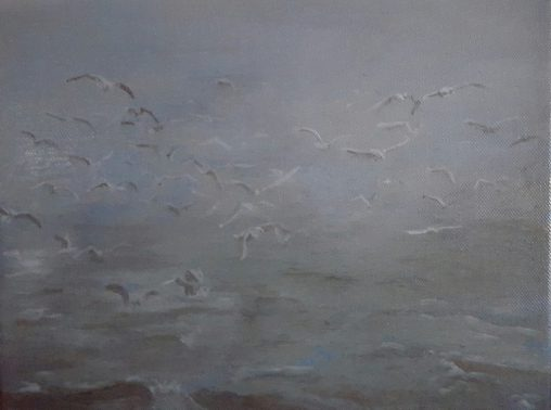 painting seagulls behind fishing boat Waddenzee