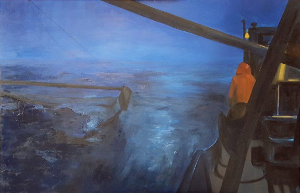 painting going fishing Waddenzee
