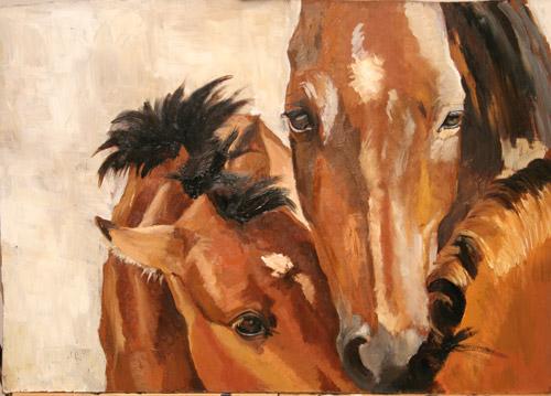 three brown horses meet