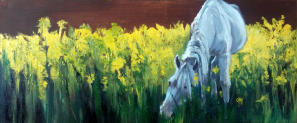 painting horse in field