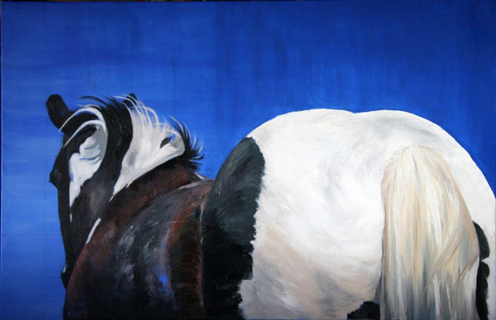 painting horse Bonte en blauw